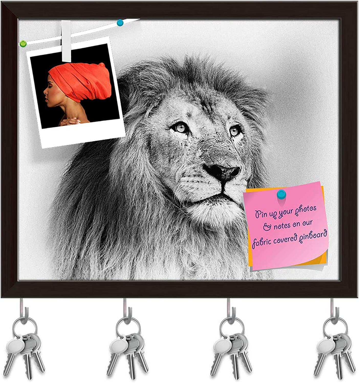 Artzfolio Striking Black & White Lion Key Holder Hooks   Notice Pin Board   Dark Brown Frame 19.5 X 16Inch