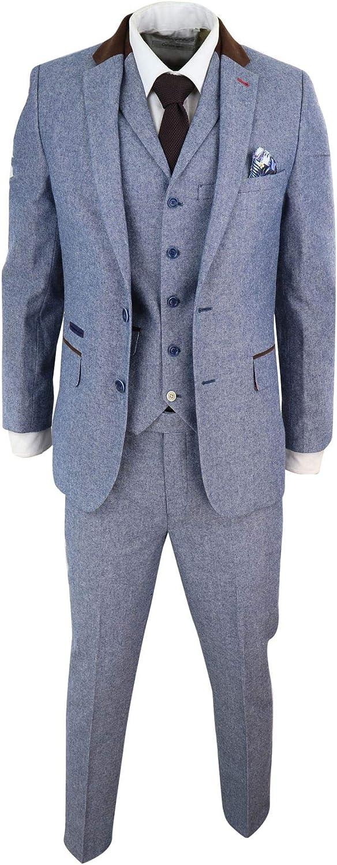 Mens Tweed 3 Piece Slim Fit Suit Blue Vintage Short Reg Long