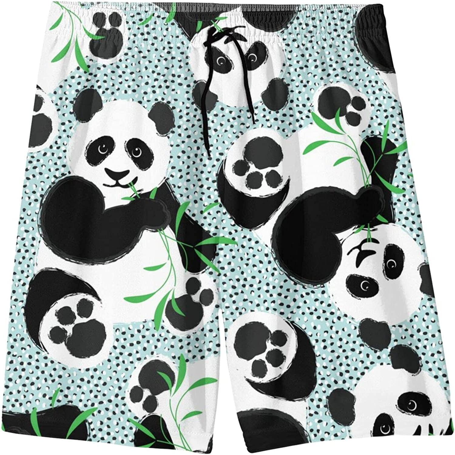 Cute Panda Eating Bamboo Boys Quick Dry Swim Trunks Youth Novelty Beach Surfing Board Shorts 7-20 Years
