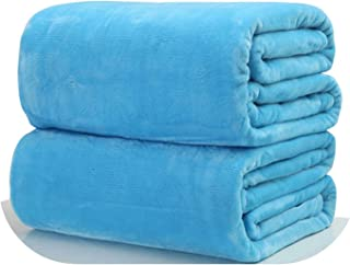 Novtop Official Store Home Textile Blanket Solid Color Super Warm Soft Flannel Blankets Throw on Sofa/Bed/Travel Plaids bedspreads Sheets,Blue,100x100cm