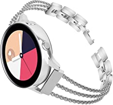 TOROTOP Compatible for Galaxy Watch Active 40mm/Galaxy Watch 42mm Band,20mm Metal Stainless Steel Chain Bangle Bracelet Replacement Compatible for Samsung Galaxy Watch 42mm R810