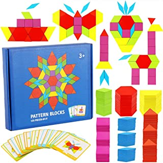 KanCai Tangram Infantil Juguetes Montessori De Madera 155 PCS Jigsaw Puzzle, Niños Wood Rompecabezas Juego DIY Geométrico Matematicas Material Montessori