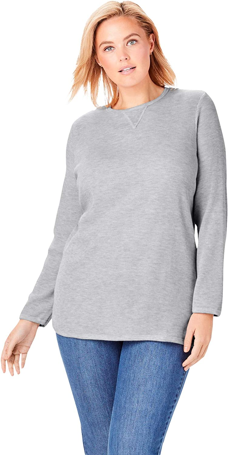 Woman Within Womens Plus Size Thermal Sweatshirt