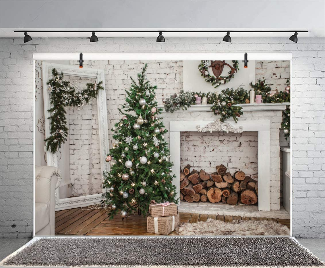 6x4FT Merry Christmas Room Backdrop Xmas Tree Pine Branch Wreath Rustic Fireplace Brick Wall Wood Piles Sofa Carpet Photography Background Happy New Year Photo Studio Prop Vinyl Wallpaper