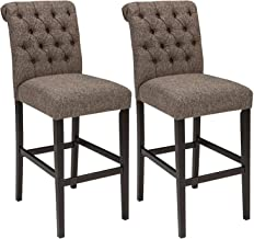 Signature Design By Ashley - Tripton Tall Upholstered Barstool - Set of 2 - Casual Style - Medium Brown