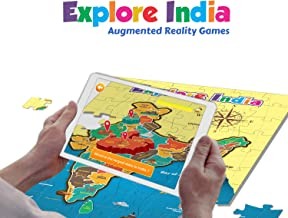 PLAYAUTOMA Explore India - India map Jigsaw Floor Puzzle with States and Capitals, Educational Augmented Reality Based Int...