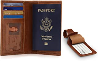 Leather Passport Wallet - RFID Blocking and Baggage Tag - Unisex (Light Brown)