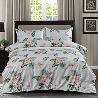 3 Piece Duvet Cover Set, Cotton Bedding Floral Flamingo Pattern Luxury Breathable, Soft, Comfortable and Easy Care, Queen Size