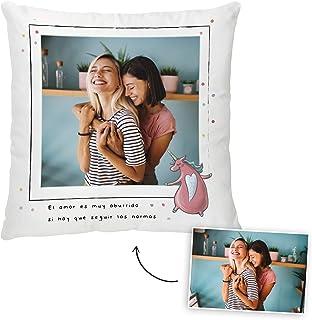 Fotoprix Cojín Personalizado con Foto y diseño 'Amor SIN Normas' | Regalo Original LGTB - Free Love | Varios diseños y tamaños (Sin Normas, 35 x 35 cms)