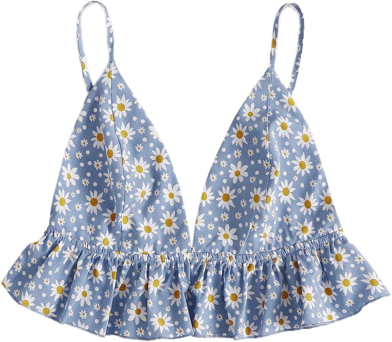 SheIn Women's V-Neck Sleeveless Floral Ruffle Camisole Open Black Peplum Crop Cami Top