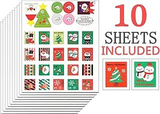 christmas postage stamp stickers