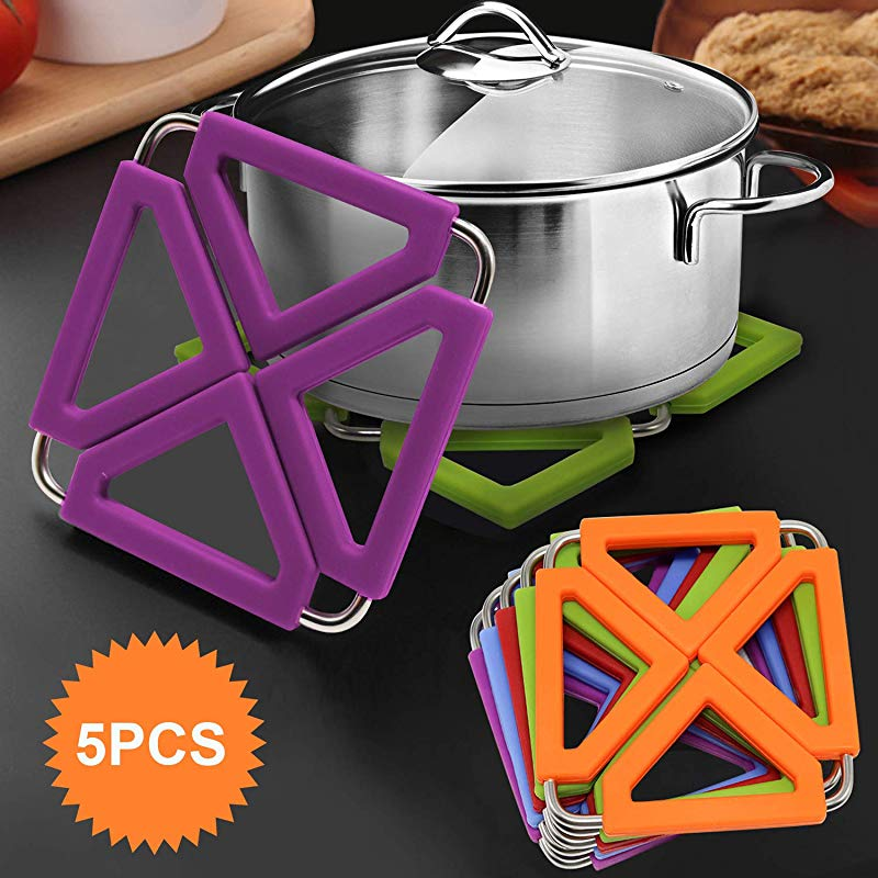 Set Of 5 Silicone Trivet Mat Expandable Hot Pot Holder With Stainless Steel Frame For Home Kitchen Heat Resistant Insulated Hot Pads Coasters Table Dish Mat Tableware Placemat For Hot Pans Bowls