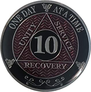 10 Year AA Coin Silver Tri-Plated Medallion, Recovery Chip, 12 Step Token, Alcoholics Anonymous Coin (RED, 10 Year AA Coin)