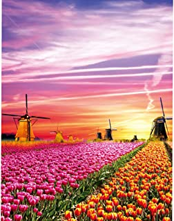 KWYZ Puzzles 1000 Pieces for Adults Kids – The Windmill Flowers Jigsaw Puzzle Toy, Artwork Art Large Size (27.56 in x 19.69 in)