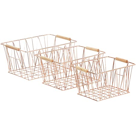 Amazon Basics Lot de 3 paniers de rangement métalliques, Cuivre