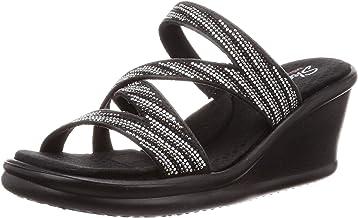 New Haida Fashion Rhinestone Black Silver Gold Comfort Wedge Sandal Slippers-Size 8,9,10 7, Black