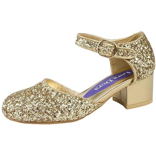 061425255cbb Lora Dora Girls Faux Leather Low Block Heel Party Shoes Mary Jane Kids  Wedding Prom Size
