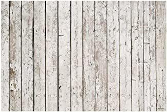 Funnytree 5X3ft White Vintage Wood Backdrop Wooden Board Photography Bokeh Rustic Faux Panel Flat Background Portrait Retro Texture Photo Booth Studio Props Poster Photoshoot Photografia Decoration