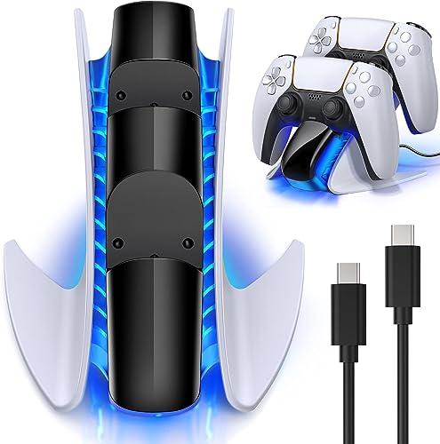 BEBONCOOL Chargeur Manette PS5, Chargeur PS5 avec Puce Protection de Charge Rapide,Support Manette PS5 avec Indicateu...