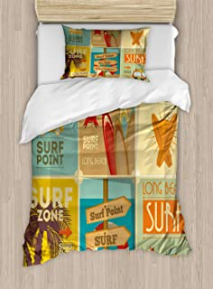 Lunarable Surf Duvet Cover Set, Retro Posters Group Summer Vacation Theme Hobby Water Sports California Beach, Decorative 2 Piece Bedding Set with 1 Pillow Sham, Twin Size, Pale Brown