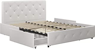 DHP Dakota Upholstered Platform Bed with Storage Drawers, White Faux Leather, Full
