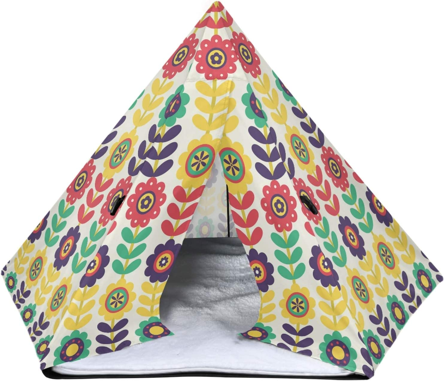UNISE Max Time sale 82% OFF Floral Pattern Design Pet Houses with Cushio Bed Cat Dog
