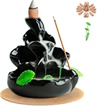 OCIOLI Ceramic Backflow Incense Holder Waterfall Incense Burner for Home Decor Aromatherapy Ornament with 20 Free Incense ...