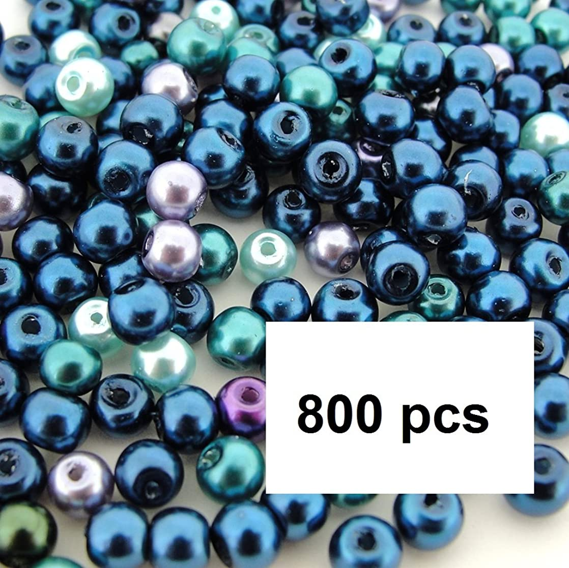 Beads Direct USA's Glass Pearls Mix Tiny Round Glass Pearls Approx 4mm in Diameter - Ocean Mix (4mm, 800pcs) lpkzymhm24109