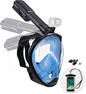 Dekugaa Full Face Snorkel Mask, Snorkeling Mask with Detachable Camera Mount, 180 Degree Panoramic Viewing Upgraded Dive M...