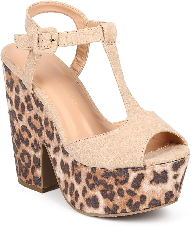 Wild Diva DD74 Women Suede T-Strap Peep Toe Leopard Platform Sandal - Natural