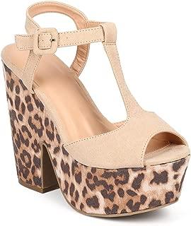 Wild Diva Women Suede T-Strap Peep Toe Leopard Platform Sandal DD74