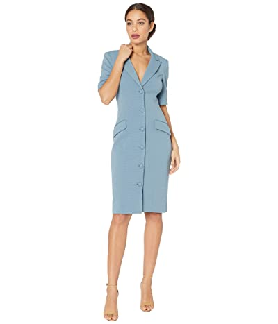 Badgley Mischka Stretch Faille Jacket Dress (Slate Blue) Women