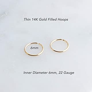 14K Yellow Gold Filled Little Piercing Rings Hoop Rings 6mm or 0.23 Inch 22 Gauge Hugging Tiny Handmade Earrings Septum Jewelry