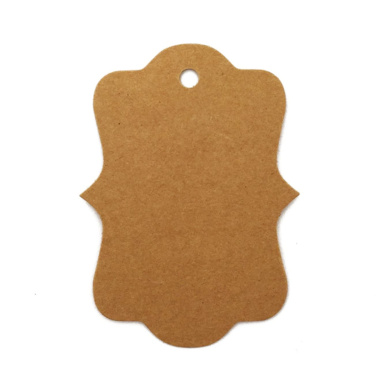 LWR Crafts 100 Hang Tags Antique Border with Jute Twines 100ft (2