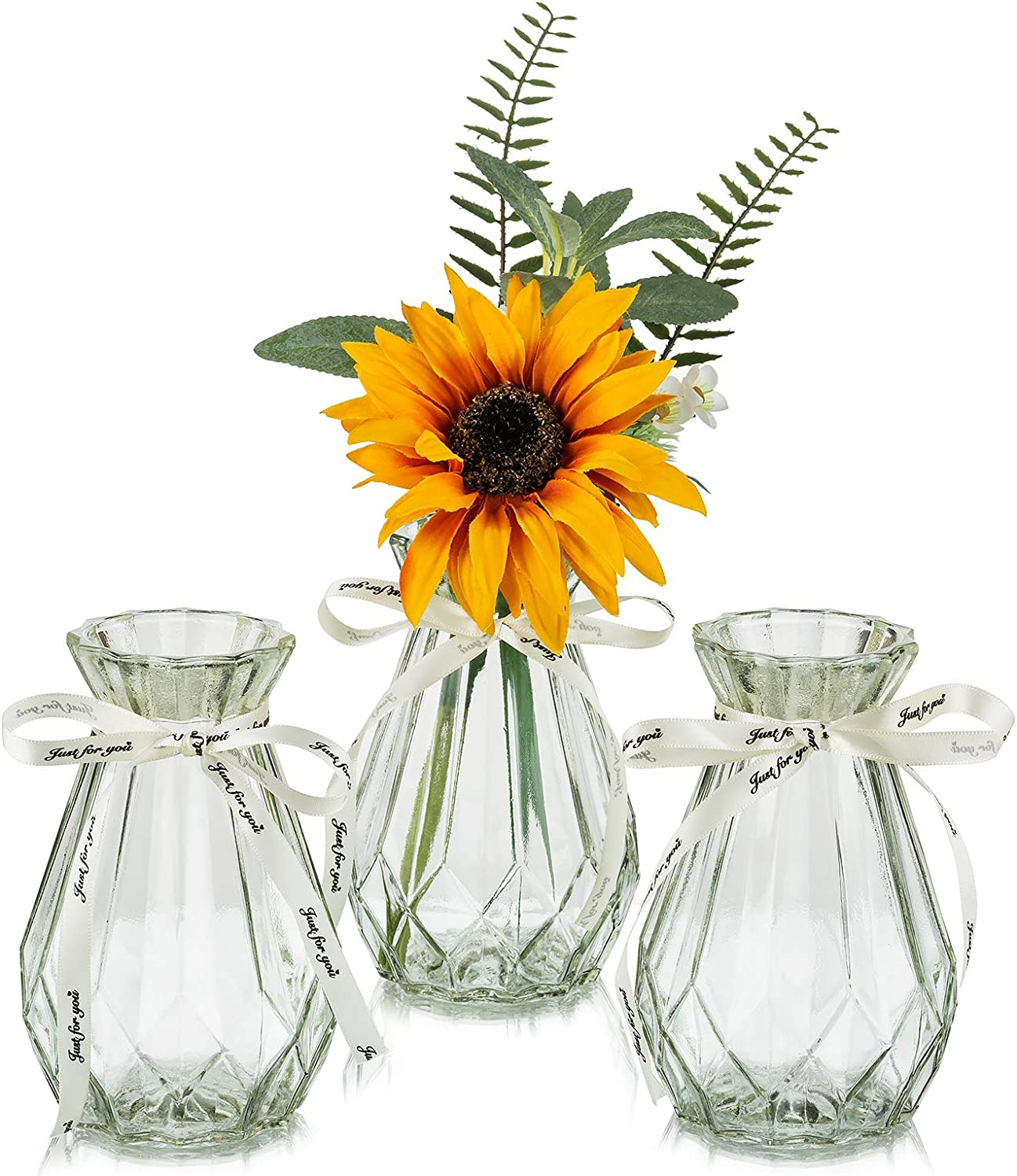 Garden Decoration Home Hyacinth Flower Vases Glass with Twine Rope 3 Pcs//Set Floral Arrangements Artificial with Vase Unique Shapes Creative for Wedding