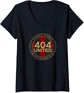 Womens 404 United Atlanta Soccer Fan City Too Busy To Hate Emblem  V-Neck T-Shirt