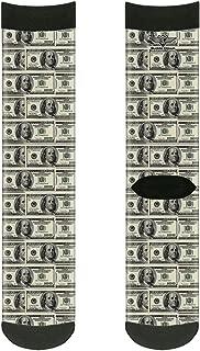 Buckle-Down Unisex-Adult's Socks 100 Dollar Bills Crew, Multicolor