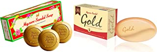 Mysore Sandal Soap,450g (150x3) (Pack Of 3) And Mysore Sandal Gold Soap, 125 g (Pack of 2)