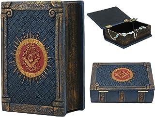 Ebros Small Masonic Secret Book Box Freemasonry Square and Compasses Ritual Morality Blue Small Hinged Book Jewelry Box Fr...