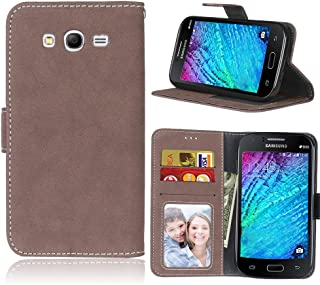 Protective Case Compatible with Samsung Compatible Samsung Galaxy Grand Neo I9060 Retro Style Solid Color Premium PU Leather Wallet Case Flip Folio Protective Case Cover With Card Slot/Stand phone cas