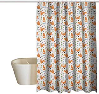 Genhequnan Fox Funny Shower Curtain Hand Drawn Cartoon Foxes Dancing and Sitting with The Flowers Mushrooms and Berries Fabric Shower Curtains for Bathroom W48 x L72 Inch Multicolor