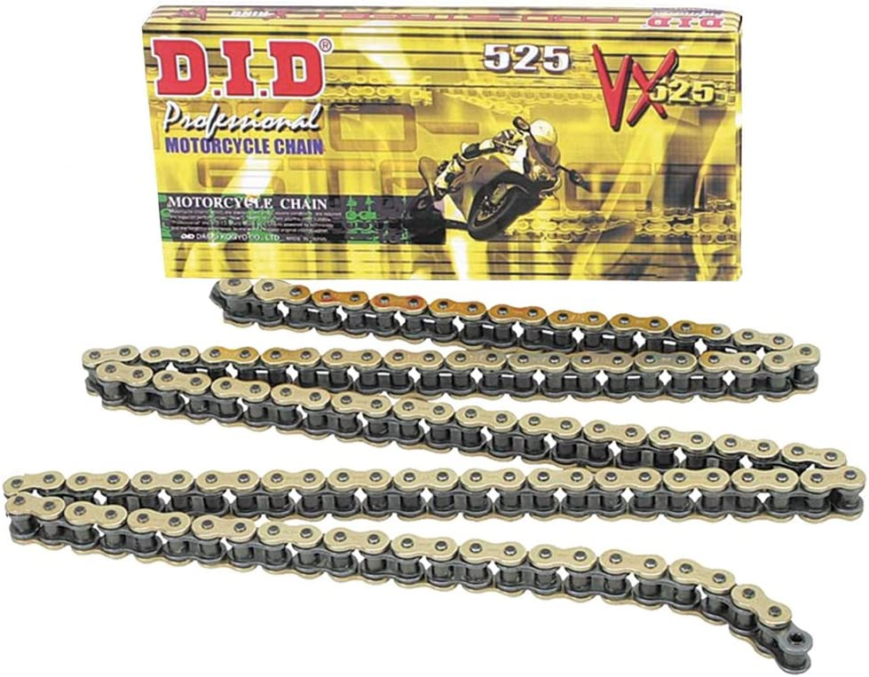 D.I.D 525VXGB-98 Gold 98-Link High Performance X-Ring Chain with Connecting Link