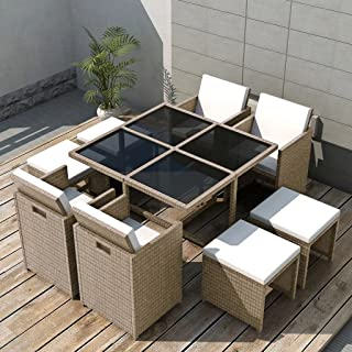 Tidyard 9 Piece Outdoor Garden Dining Set, Patio Dining Table Furniture Set, Comfortable Cushions, Steel Frame, Glass Tabletop, Poly Rattan Gray/Beige, Space Saving