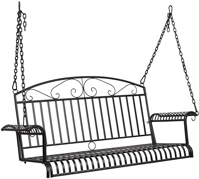VINGLI Upgraded Metal Patio Porch Swing - Ergonomic Design