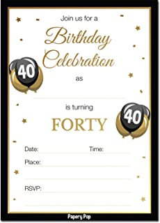 40th Birthday Invitations with Envelopes (30 Count) - 40 Forty Year Old Anniversary Party Celebration Invites Cards