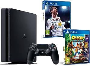 PS4 Slim 1Tb Negra Playstation 4 Consola - Pack 2 Juegos - FIFA 18 + Crash Bandicoot N.Sane Trilogy