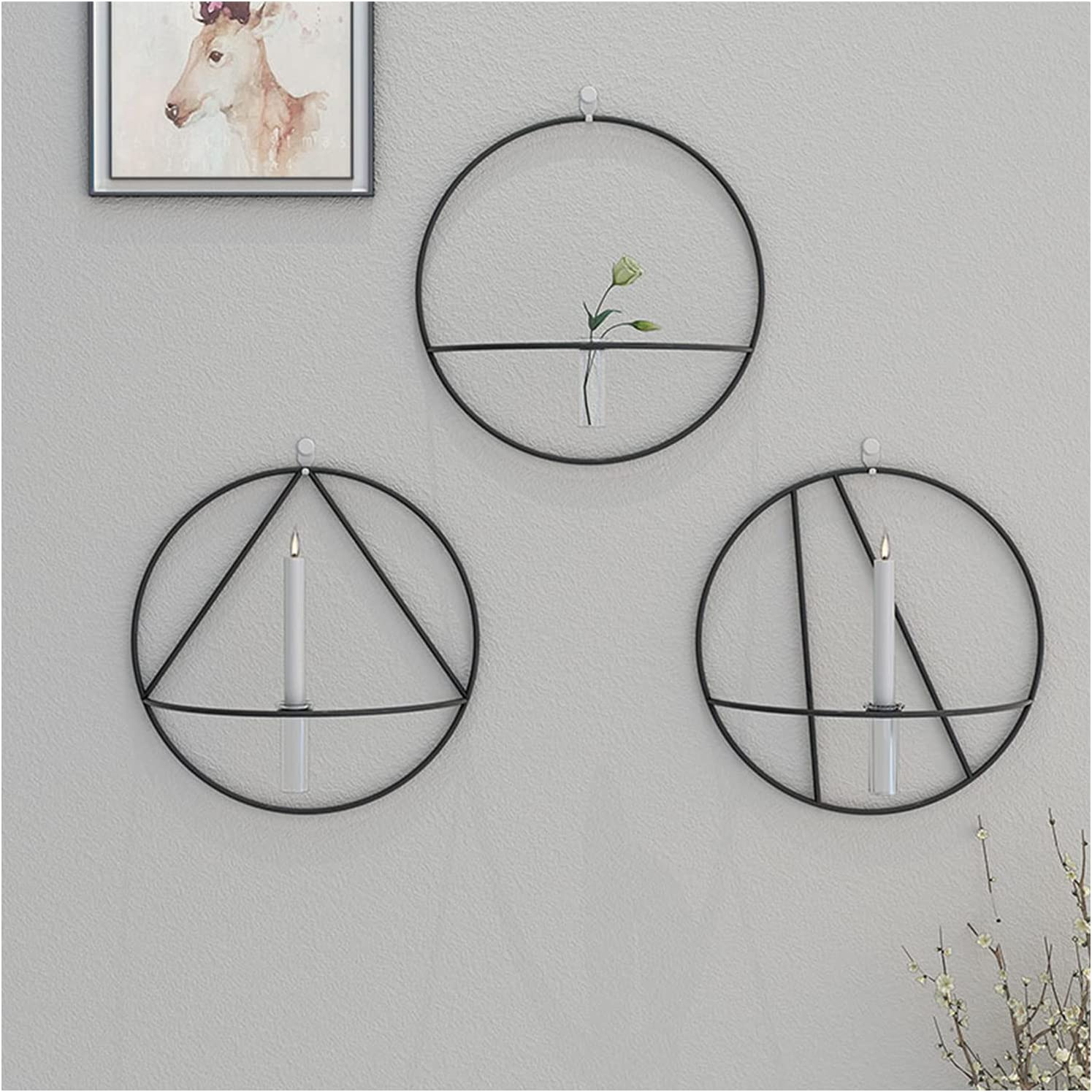 3PCS Max 89% OFF Nordic Style 3D Metal Geometric Hanging Candle Wall Sacramento Mall Holder