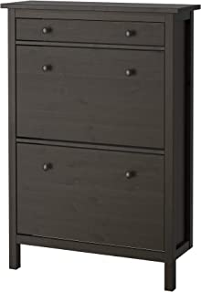 IKEA Hemnes Shoe Cabinet With 2 Compartments, Black-Brown