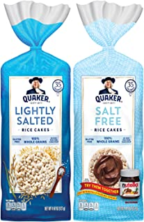 Quaker Large Rice Cakes, Gluten Free, Lightly Salted + Salt Free Variety Pack, 6 Count