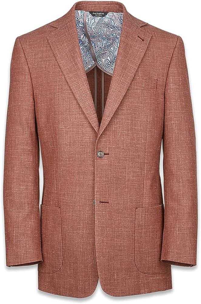 unisex Paul Fredrick Men's Wool Silk and J Manufacturer OFFicial shop Lapel Linen Suit Solid Notch
